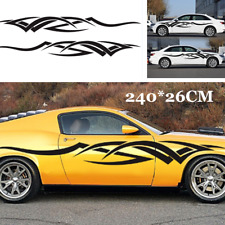 2pcs Black Racing Flame Totems DIY Custom Side Door Vinyl Car Sticker Decals