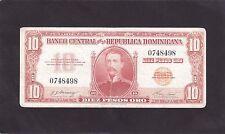 Dominican republic 10 Pesos Oro  1962 P-93a   VG+ washed