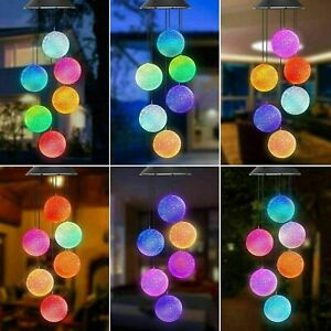 UK Hanging Colour Changing Solar Powered LED Ball Chimes Lights Garden Outdoor