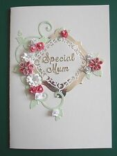 Personalised Handmade Birthday/Anniversary Card Quilled flowers Pinks
