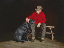 John Weiss FOREVER FRIENDS, giclee canvas BLACK LAB, Dog, #94/95