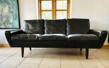 VINTAGE DANISH MID CENTURY GEORG THAMS 3 PERSON SOFA IN SOFT BROWN LEATHER 1964
