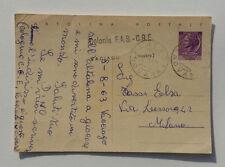 Repubblica Italiana Cartolina Postale Timbro Vaciago Colonia 1963 x Milano