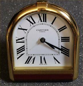 Cartier Tischuhr Reisewecker Ref 6540, 1993 Switzerland, Mesing Gelbgold Quarz