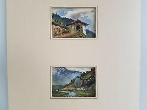 2 Aquarelle Ansicht von Trins u.Trübbach bez. Pieter Francis Peters Juni 1898