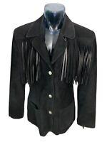 Vintage RARE Womens 8 SPIEGEL Western Black Suede Leather Fringe Cowgirl Jacket