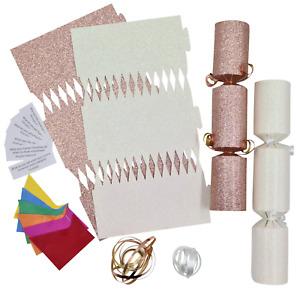 12 Make Your Own Christmas Cracker kit Crackers Hats Snaps ROSE GOLD & WHITE