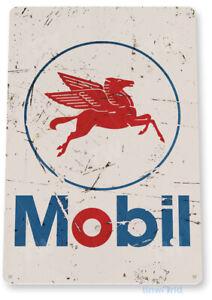 Mobil Gas Oil Sign, Station, Garage, Auto Shop, Retro Rustic Tin Sign B072