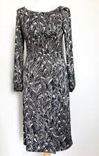 Ladies L K Bennett Grey Black 100% Silk Jersey Dress. Leaf Pattern. Size 10.