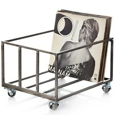 """Metal Vinyl Records Storage Box Cube for 12"""" - Fully assembled crate - Holds 80"""
