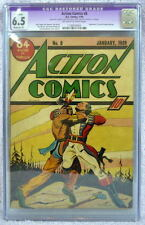 ACTION COMICS #8 CGC 6.5 8th App SUPERMAN 1939 Rare Off White/White Pgs