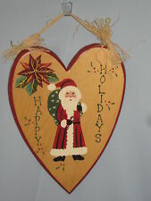 Happy Holidays Sign Santa Claus Solid Pine Hand Painted Christmas Thomas #HY09