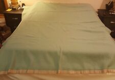 "Vintage 70"" X 80"" AMERICAN WOOLEN CO. Wool Blanket Light Green NICE"