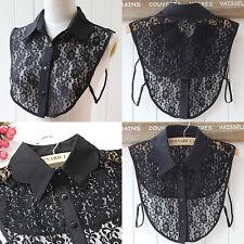 Ladies Women Lace Fake false-Peter Pan Collar Detachable Half Shirt Blouse Black