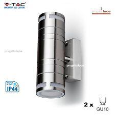 V-TAC LAMPADA DA MURO APPLIQUE LED GU10 ACCIAIO INOX IP44 VT-7632 SKU 7504 WALL