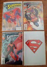 Superman DC 4 NM Comic lot-The Man Of Steel #1, 2-SUPERMAN #0 & #500 SEALED BAG
