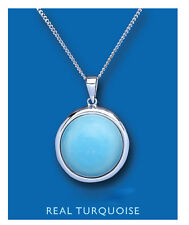 Turquoise Pendant Natural Turquoise Necklace Solid Sterling Silver Pendant