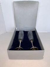 Vintage Elegance Silverware Set Of 2 Wedding Flutes With Bling Base 9�