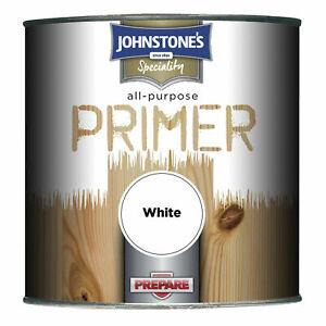 JOHNSTONES ALL PURPOSE PRIMER WHITE INTERIOR EXTERIOR WOOD METAL 750ML