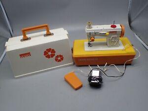 Vtg. 70's Montgomery Ward Kids Electric Sewing Machine MOD Hippie Orange Flowers