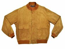 Faconnable A-1 Goatskin Leather Suede Bomber Jacket Large XL Tan Camel Flight