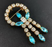 Vintage Aquamarine Pale-Blue Chandelier Dangle Brooch/Pendant Jewellery