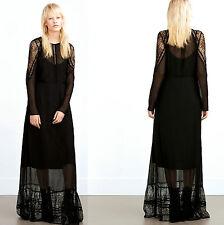 ZARA MAXI DOUBLE LAYER BLACK LACE LONG DRESS SIZE M UK 10 EU 38 USA 6