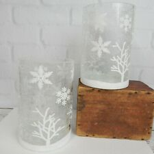 Pair Clear White Crackle Glass Winter Snowflake Jar Pillar Candle Holder 6""