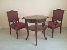 Antique Hungarian tea table with two armchairs