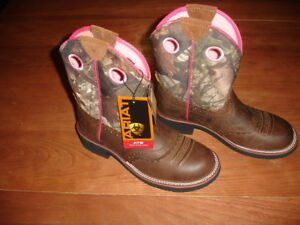 ARIAT FATBABY BROWN LEATHER LACE STITCH PINK CAMO CANVAS COWGIRL BOOTS - US 6.5B