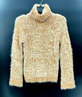 Abound Womens Fuzzy Knit Turtleneck Sweater Tan Marled Sz Medium NWT