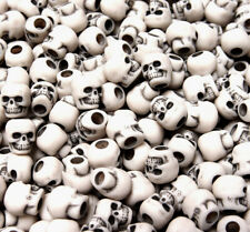 Antiqued White Skull beads made in USA for Halloween crafts paracord jewelry