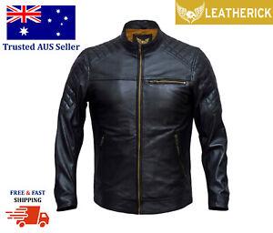 Men Fashion Real Sheep Leather Biker Retro Style Motorcycle Jacket Black AUS