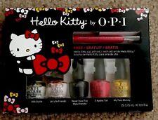 Opi Hello Kitty Friend Pack 5 Mini Nail Lacquer Polish & Art Tool Set Boxed Nib