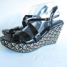 Eric Javits Platform Wedge Sandals 11 Black Patent Leather Woven