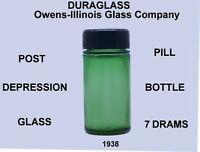 Vintage DURAGLASS Green  Post Depression Glass 7 Dram Pill Bottle 1938
