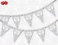 Classic Silver Damask On Your Wedding Day Bunting Banner 15 flags by PARTY DECOR