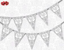 Classic Silver Damask on Your Wedding Day Themed Bunting Banner 15 Flags - for