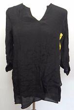 Fever Women's Small Shirt Black Roll Tab Tunic Top Blouse Sheer Sheen