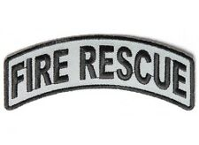 "(G19) FIRE RESCUE Rocker Black & Gray 4"" x 1"" iron on patch (4204D)"