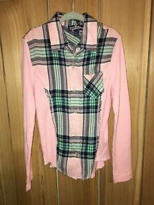 Freshman 1996 Girls Pink,Green & Blue Plaid long Sleeve Top Size 7 New
