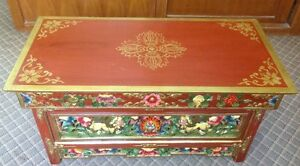 WOODEN HAND CRAFTED TIBETAN DESIGN FOLDABLE TEA TABLE FROM NEPAL.