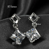 18K WHITE GOLD GF MADE WITH SWAROVSKI CRYSTAL SQUARE WOMENS STUD EARRINGS