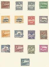 ANTIGUA SGSG120a-134  1953 QE2 SET OF 15 +2 SHADES ON ALBUM PAGE FINE USED C£56