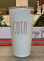 Rae Dunn - CUTIE - Insulated Stainless Steel White Travel Tumbler w/ Lid