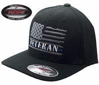 1e4fcef3187b5 American Veteran Thin Blue Line Flag FlexFit   5001 Black Hat - Free  Shipping!