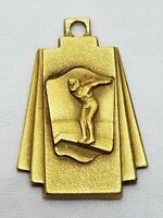 Vintage 1943 Gold Tone Diving Medal Award Metal Charm Swimming Swim Club 40s 1""