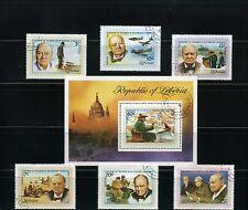WINSTON CHURCHILL >1874-1965>ANNIV.>LIBERIA,-   {6} + S/S/    1975