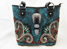 Montana West Black & Turquoise Blue Concealed Carry Shoulder Purse