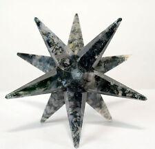 "3.2"" Green White Moss Agate 12 Point Merkaba Star Handmade Crystal Mineral India"